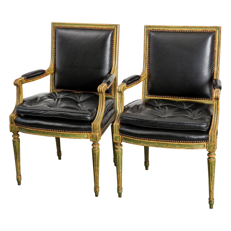 Pair of Louis XVI Style Carved Wood Leather Deco Armchairs For Sale
