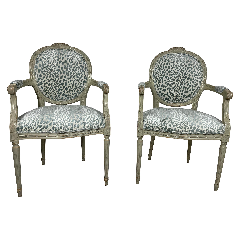 Pair of Louis XVI Style Chairs Blue/Green Animal Print Velvet Fabric