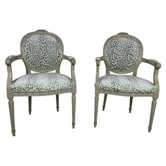 Pair of Louis XVI Style Chairs Blue/Green Animal Print Velvet Fabric