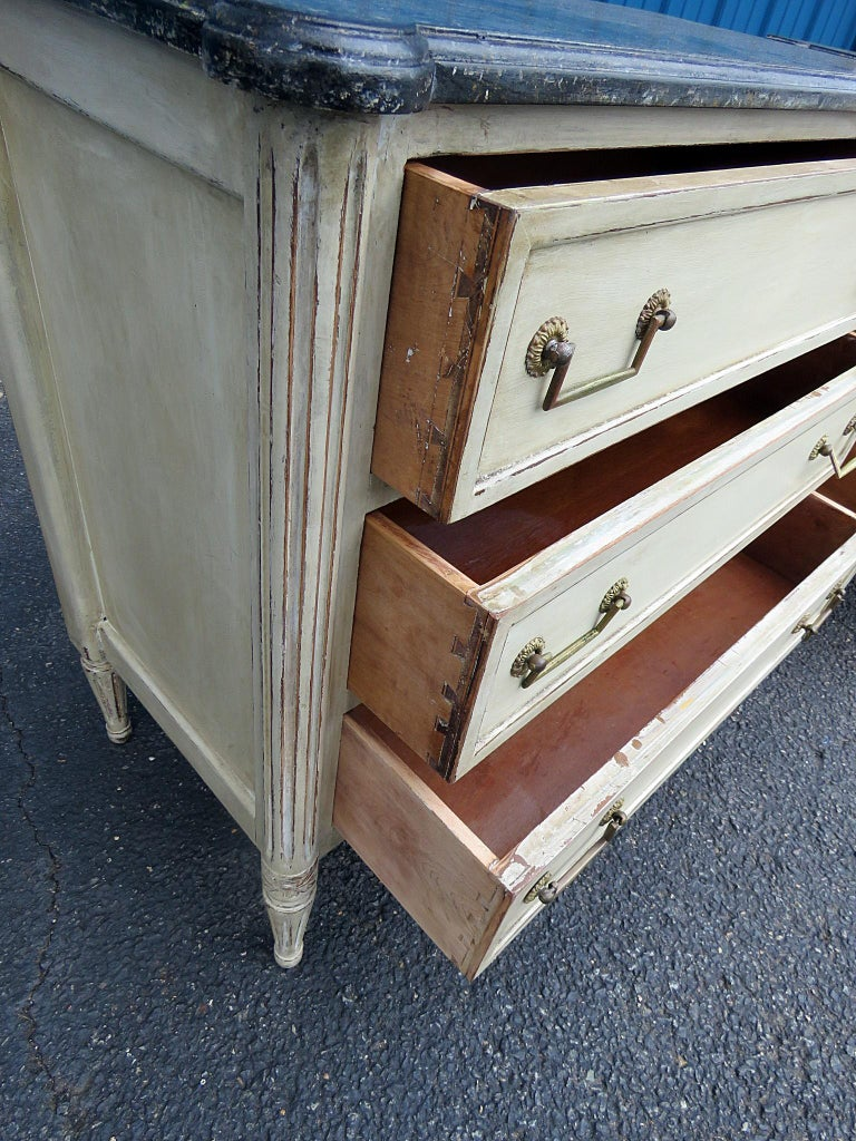Painted Pair of Louis XVI Style Commodes