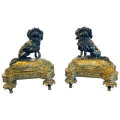 Pair of Louis XVI Style Dore Bronze Chenets Andirons, Property of Robert Goelet
