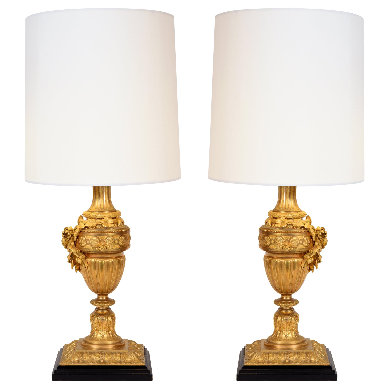 Pair of Louis XVI Style Doré Bronze Table Lamps