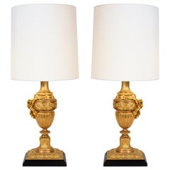 Pair of Louis XVI Style Doré Bronze Table Lamps