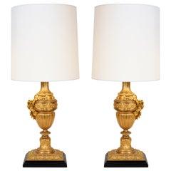 Ein paar Doré Bronze Tischlampen im Louis XVI Stil