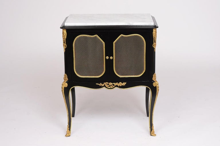French Pair of Louis XVI Style Ebonzied Nightstands For Sale