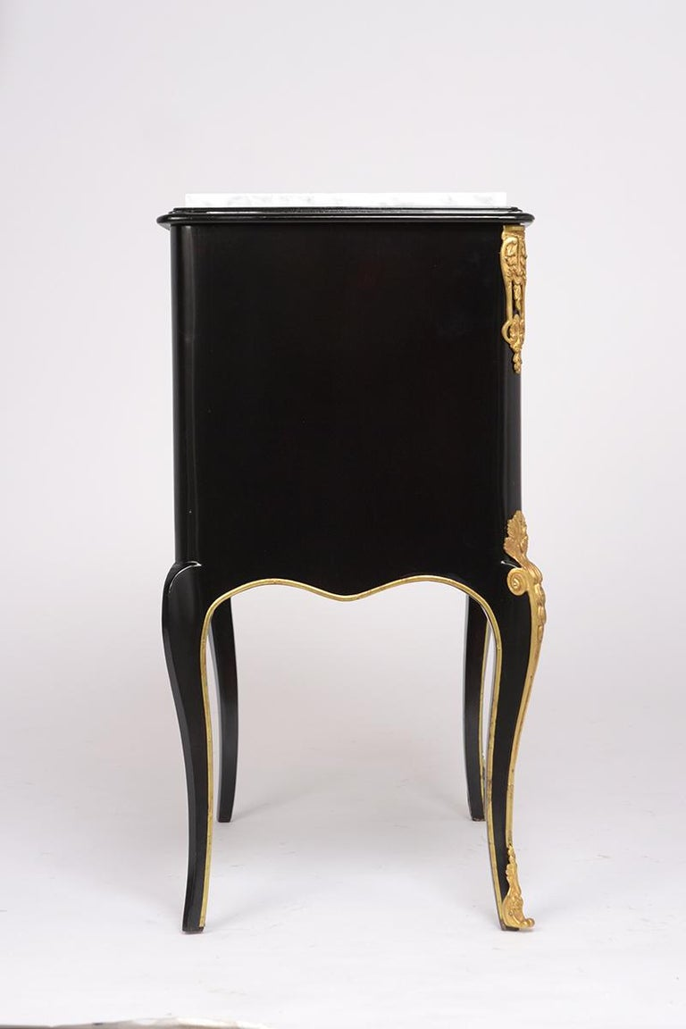 Brass Pair of Louis XVI Style Ebonzied Nightstands For Sale
