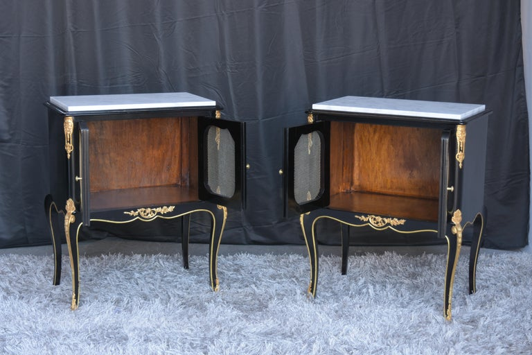Pair of Louis XVI Style Ebonzied Nightstands For Sale 2