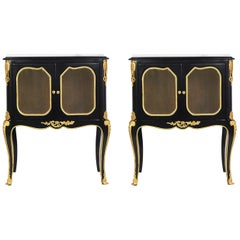 Pair of French Louis XVI Style Ebonized Nightstands