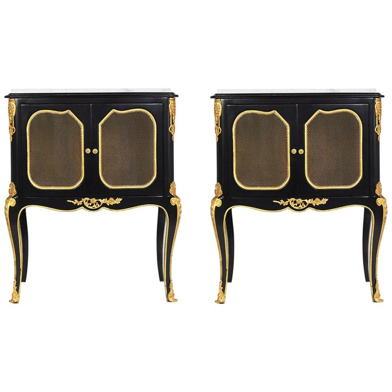 Pair of Louis XVI Style Ebonzied Nightstands For Sale