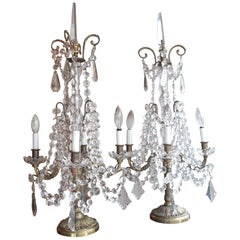 Pair of Louis XVI Style Electrified Candelabra Bronze and Cristal Girandoles