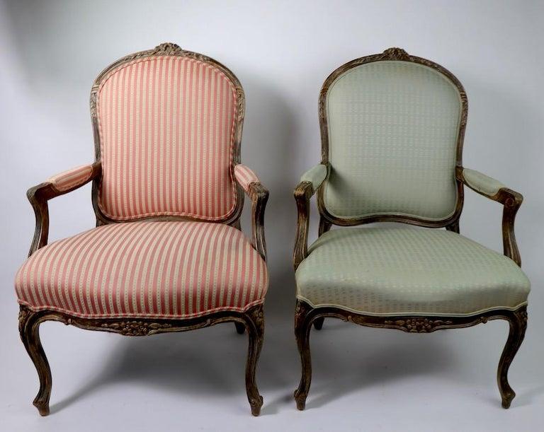 Pair of Louis XVI Style Fauteuils For Sale 6