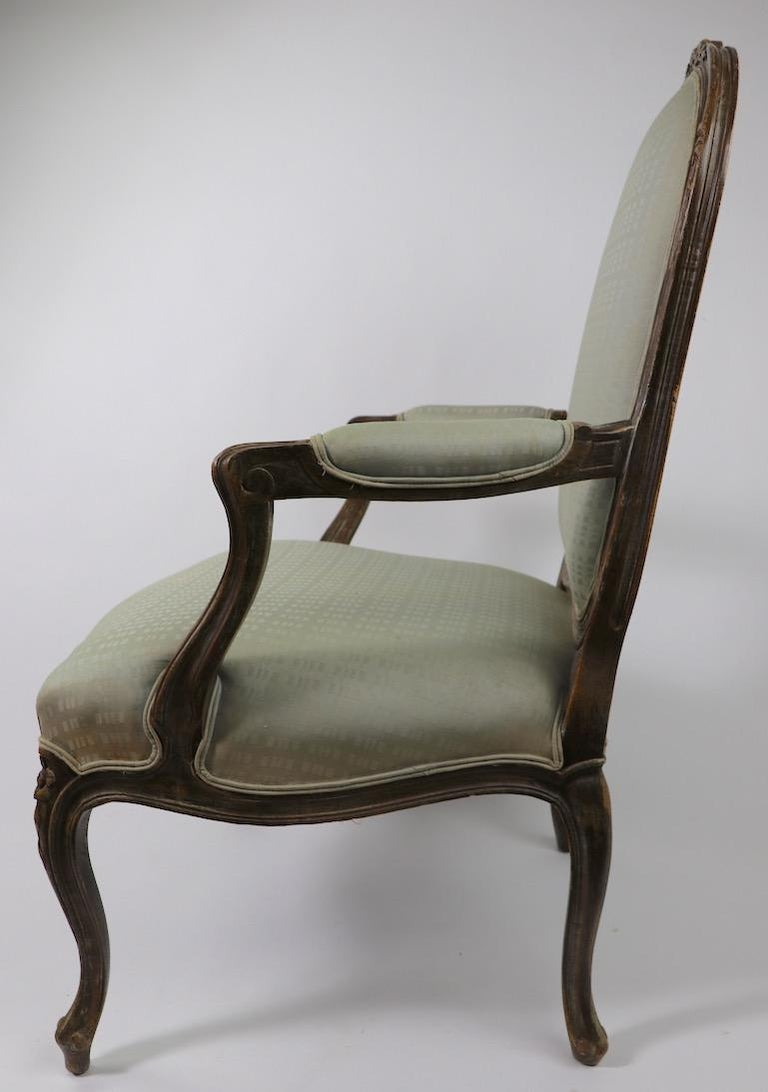Upholstery Pair of Louis XVI Style Fauteuils For Sale