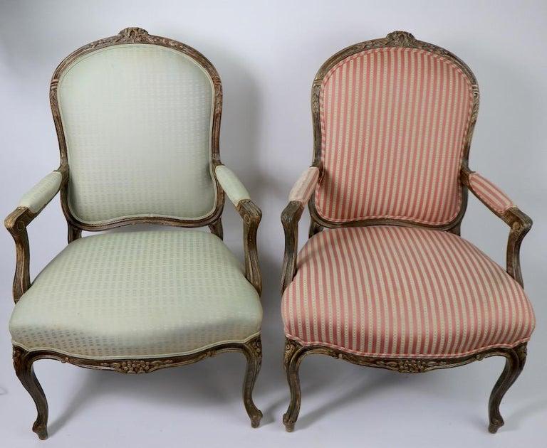 Pair of Louis XVI Style Fauteuils For Sale 3
