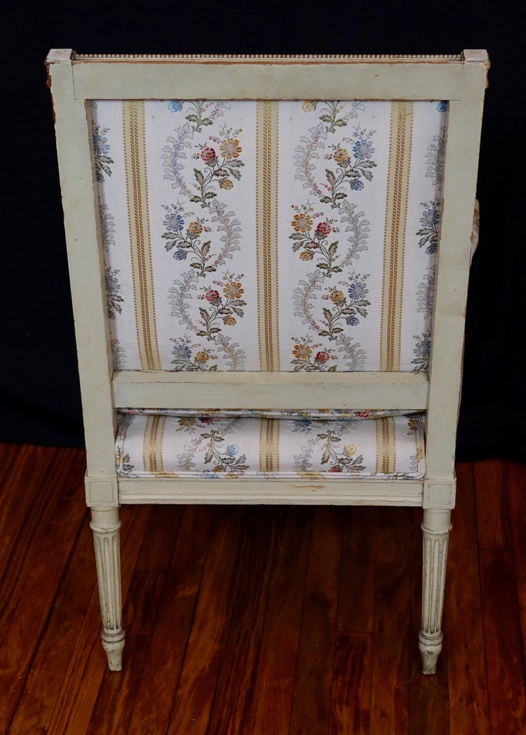 Pair of Louis XVI Style Fauteuils or Armchairs with Silk Lampas Fabric For Sale 3
