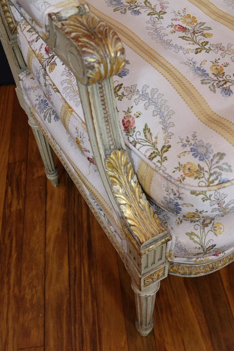 Pair of Louis XVI Style Fauteuils or Armchairs with Silk Lampas Fabric For Sale 8