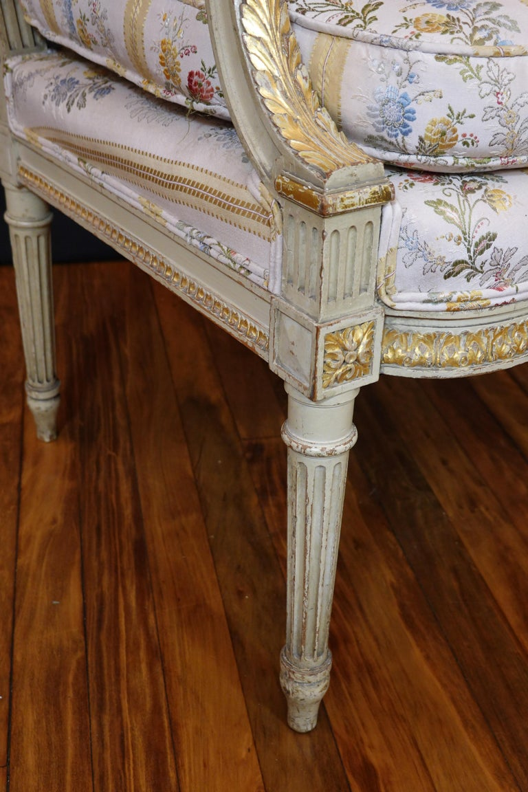 Pair of Louis XVI Style Fauteuils or Armchairs with Silk Lampas Fabric For Sale 9
