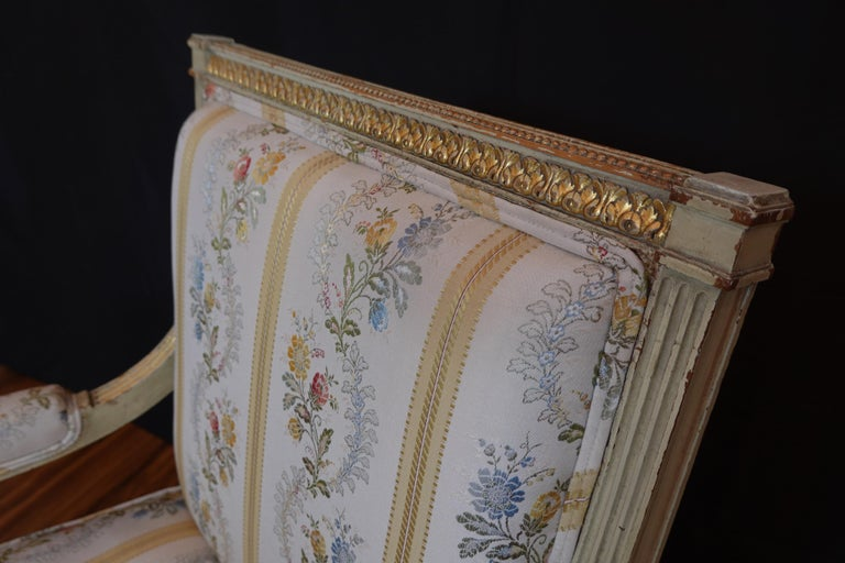 Pair of Louis XVI Style Fauteuils or Armchairs with Silk Lampas Fabric For Sale 10