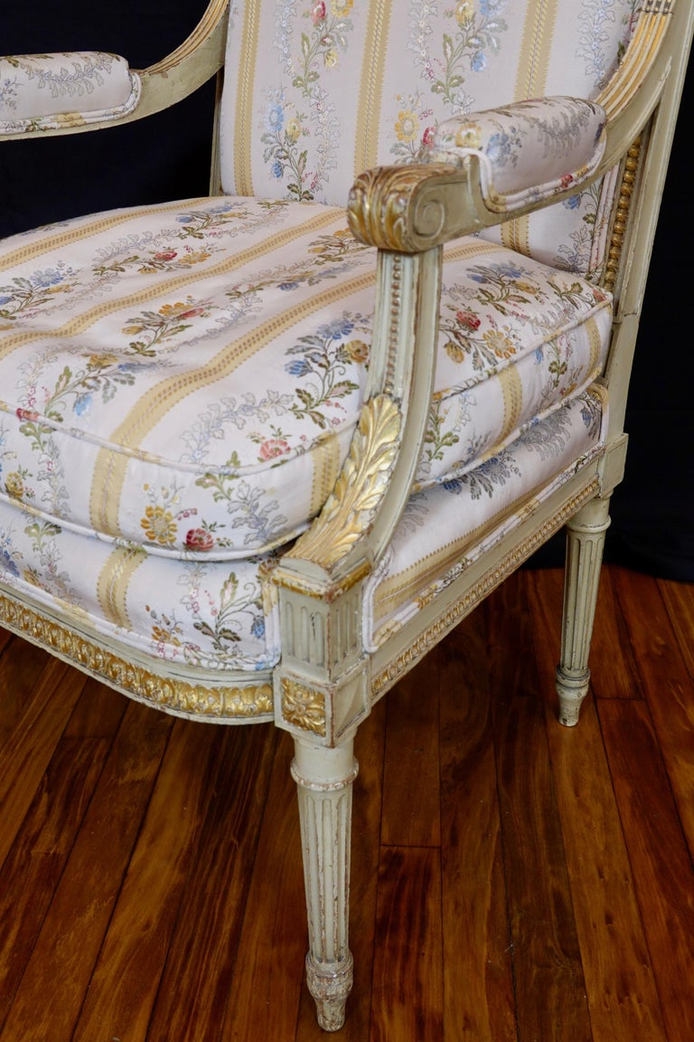 Pair of Louis XVI Style Fauteuils or Armchairs with Silk Lampas Fabric For Sale 11