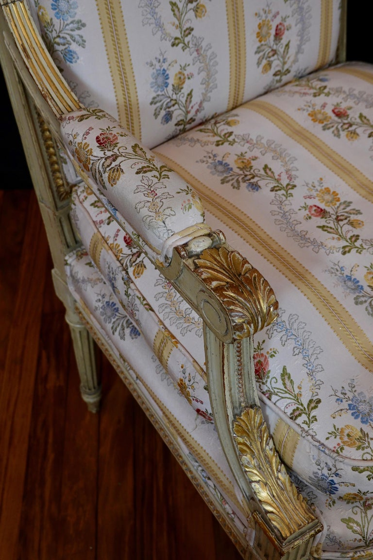 Pair of Louis XVI Style Fauteuils or Armchairs with Silk Lampas Fabric For Sale 13