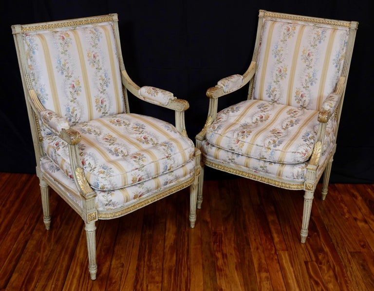 French Pair of Louis XVI Style Fauteuils or Armchairs with Silk Lampas Fabric For Sale