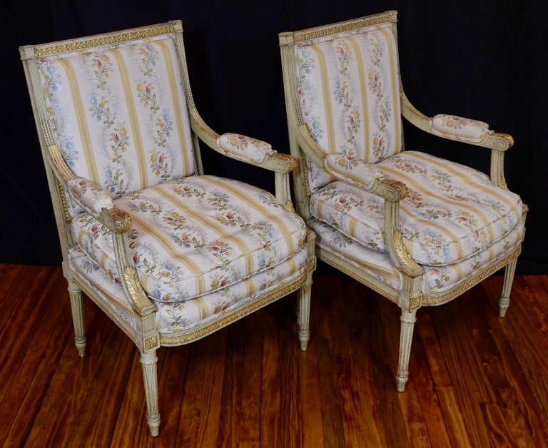 Gilt Pair of Louis XVI Style Fauteuils or Armchairs with Silk Lampas Fabric For Sale