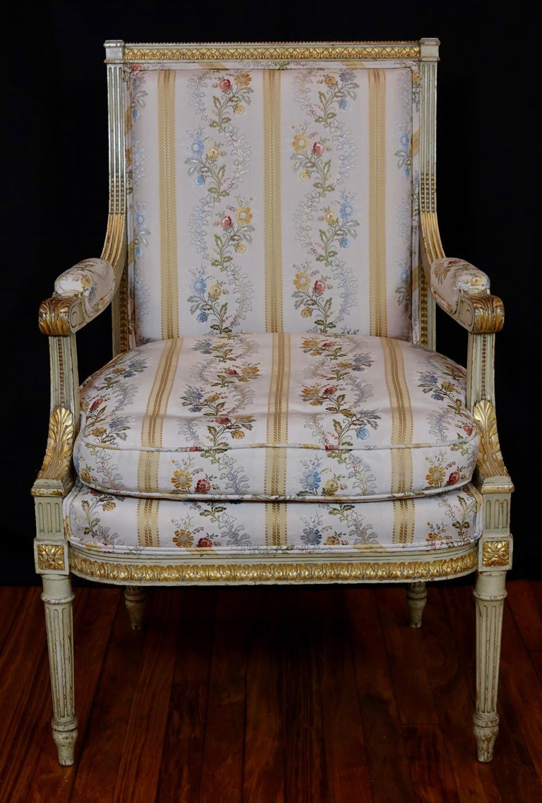 Pair of Louis XVI Style Fauteuils or Armchairs with Silk Lampas Fabric In Good Condition For Sale In Charleston, SC