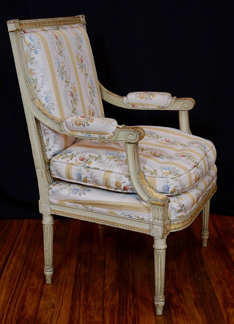Wood Pair of Louis XVI Style Fauteuils or Armchairs with Silk Lampas Fabric For Sale