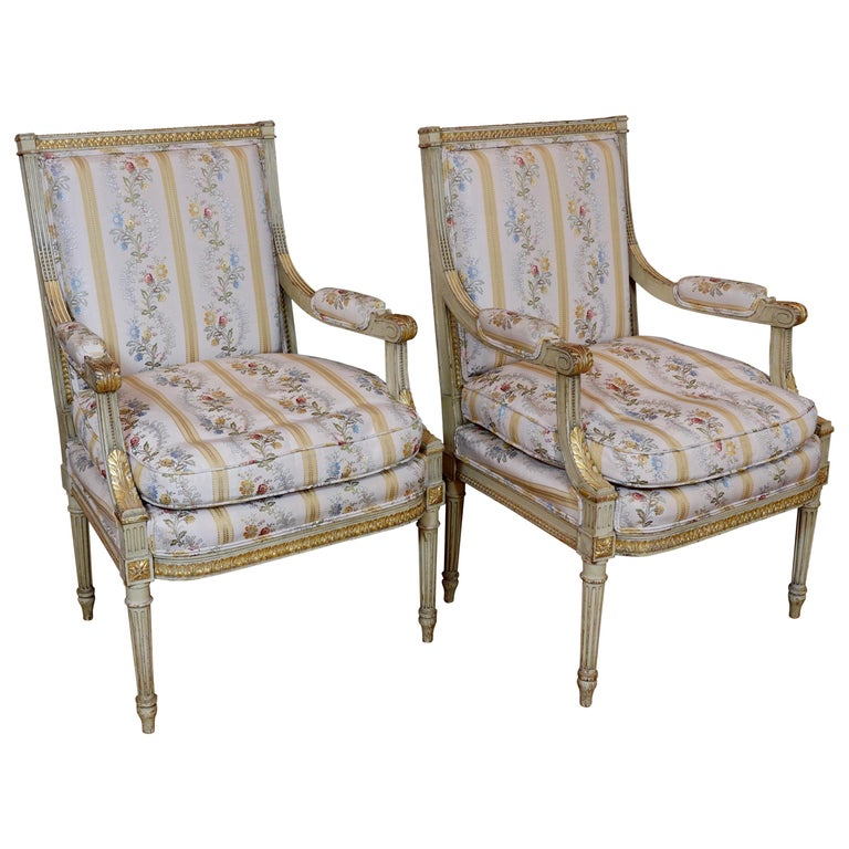 Pair of Louis XVI Style Fauteuils or Armchairs with Silk Lampas Fabric For Sale