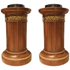 Pair of Louis XVI Style French 19th Century Bronze Mounted Pedestals