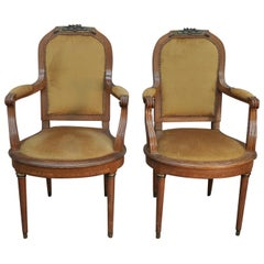 Pair of Louis XVI Style French Armchairs in Oak Fabric and Bronze, circa 1900