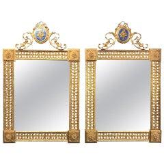 Pair of Louis XVI Style French Gilt Bronze Amp Enamel Pierced Mirrors