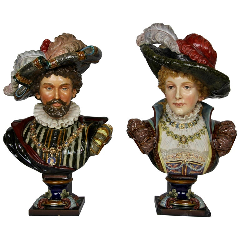 Pair of Louis XVI Style French Majolica Porcelain Busts of Royals For Sale