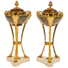 Pair of Louis XVI Style Gilt and Bronze Cassolettes