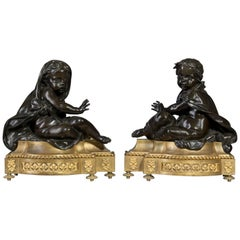 Pair of Louis XVI Style Gilt and Patinated Bronze Chenets, circa 1870