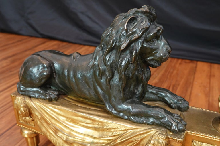 Pair of Louis XVI Style Gilt and Patinated Bronze Lion Chenets or Andirons For Sale 5