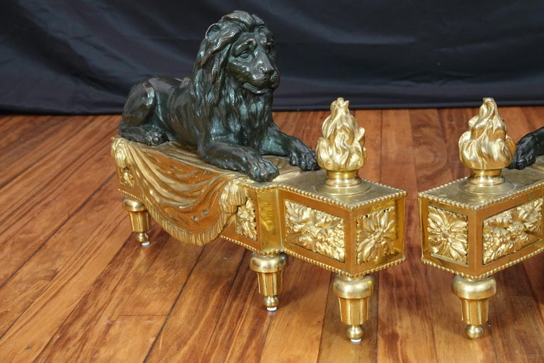 Pair of Louis XVI Style Gilt and Patinated Bronze Lion Chenets or Andirons For Sale 6