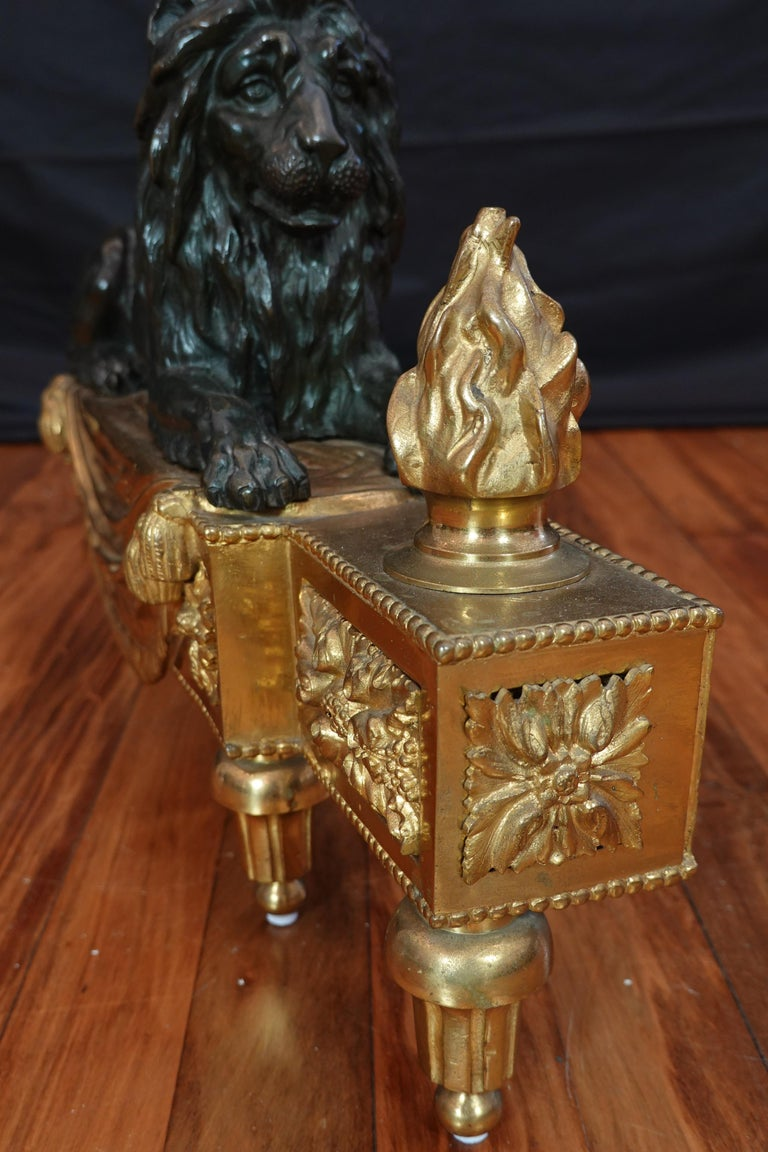 Pair of Louis XVI Style Gilt and Patinated Bronze Lion Chenets or Andirons For Sale 8
