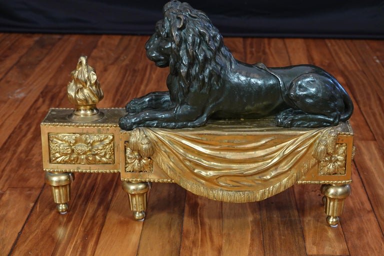Pair of Louis XVI Style Gilt and Patinated Bronze Lion Chenets or Andirons For Sale 10