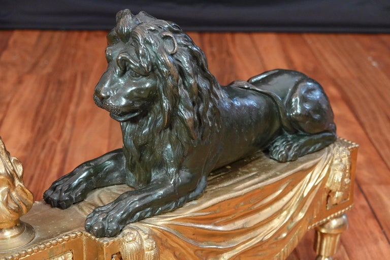 Pair of Louis XVI Style Gilt and Patinated Bronze Lion Chenets or Andirons For Sale 11