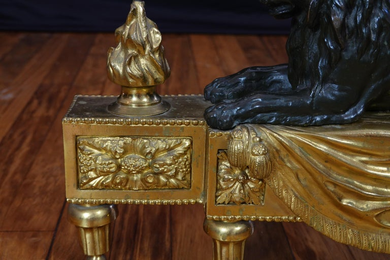 Pair of Louis XVI Style Gilt and Patinated Bronze Lion Chenets or Andirons For Sale 13