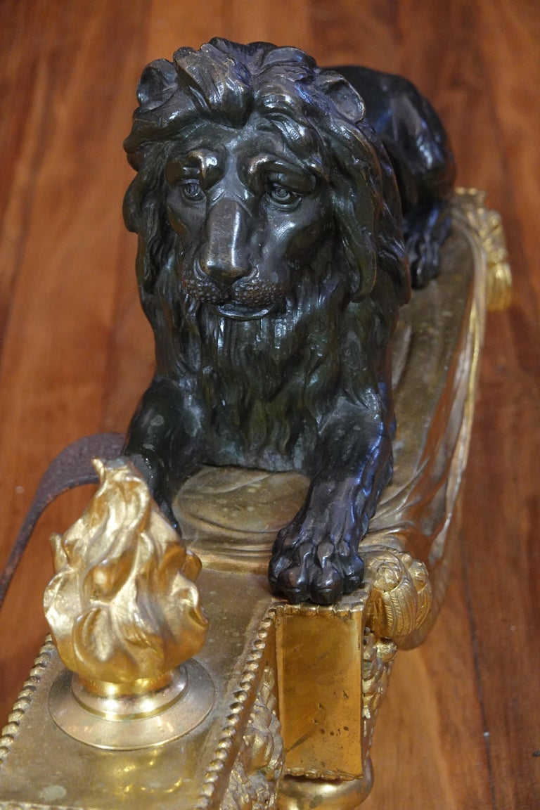 Pair of Louis XVI Style Gilt and Patinated Bronze Lion Chenets or Andirons For Sale 14