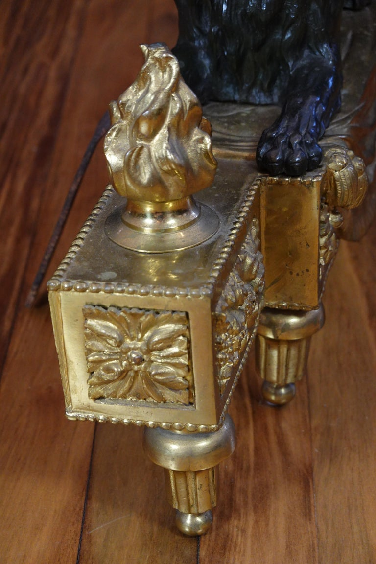 Pair of Louis XVI Style Gilt and Patinated Bronze Lion Chenets or Andirons For Sale 15