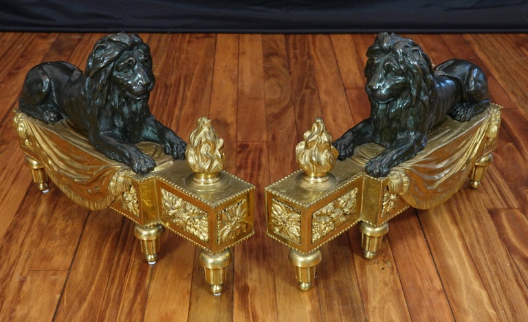 French Pair of Louis XVI Style Gilt and Patinated Bronze Lion Chenets or Andirons For Sale