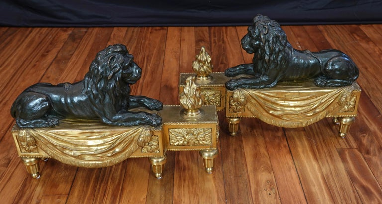 Pair of Louis XVI Style Gilt and Patinated Bronze Lion Chenets or Andirons In Good Condition For Sale In Charleston, SC