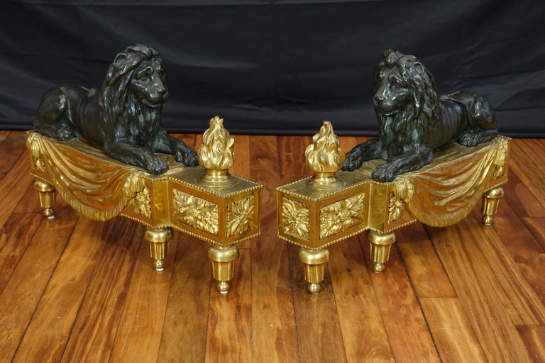 19th Century Pair of Louis XVI Style Gilt and Patinated Bronze Lion Chenets or Andirons For Sale