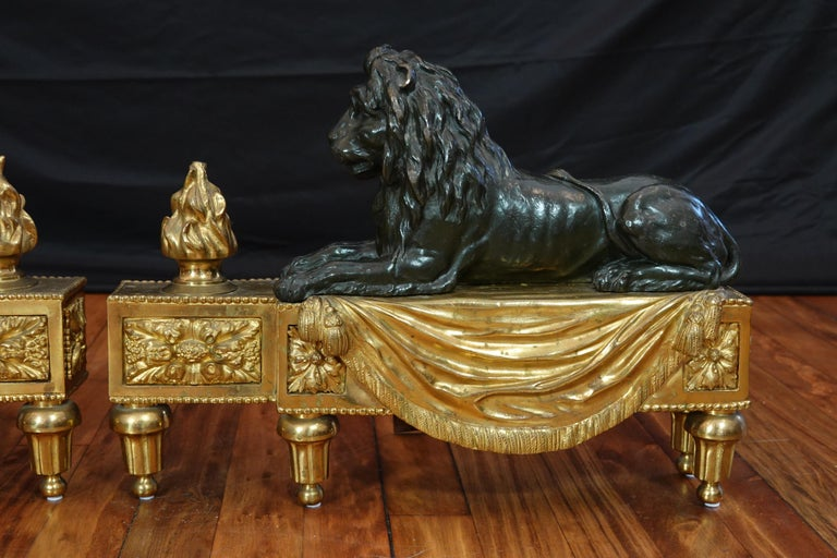 Pair of Louis XVI Style Gilt and Patinated Bronze Lion Chenets or Andirons For Sale 2