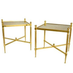 Pair of Louis XVI Style Gilt Brass Side Tables, circa 1970