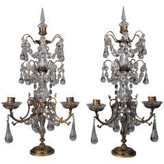 Pair of Louis XVI Style Gilt Bronze and Lead Crystal Three Light Girandoles