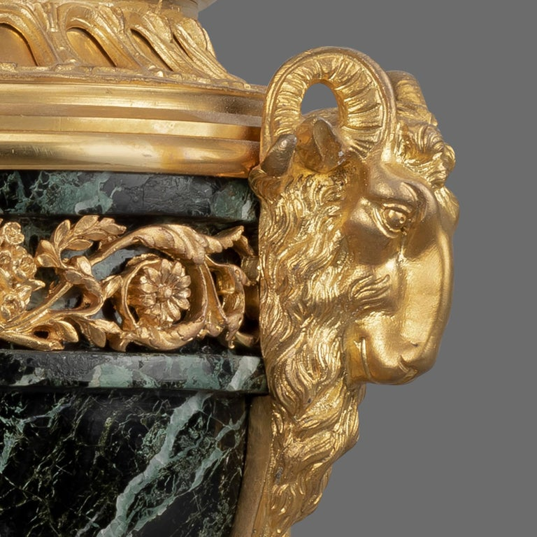French Pair of Louis XVI Style Gilt-Bronze and Marble Cassolettes For Sale