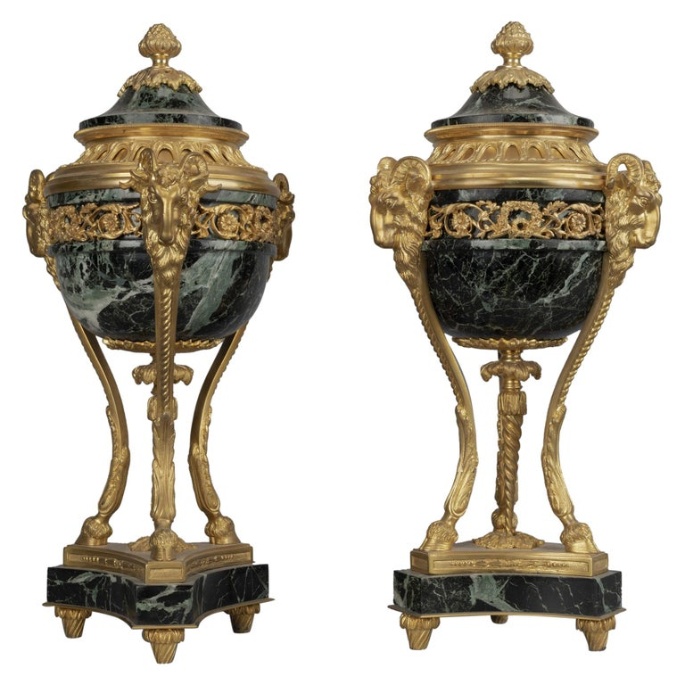 Pair of Louis XVI Style Gilt-Bronze and Marble Cassolettes For Sale